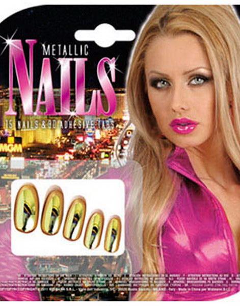 Metallic Nails - 10 st Guldfärgade Lösnaglar