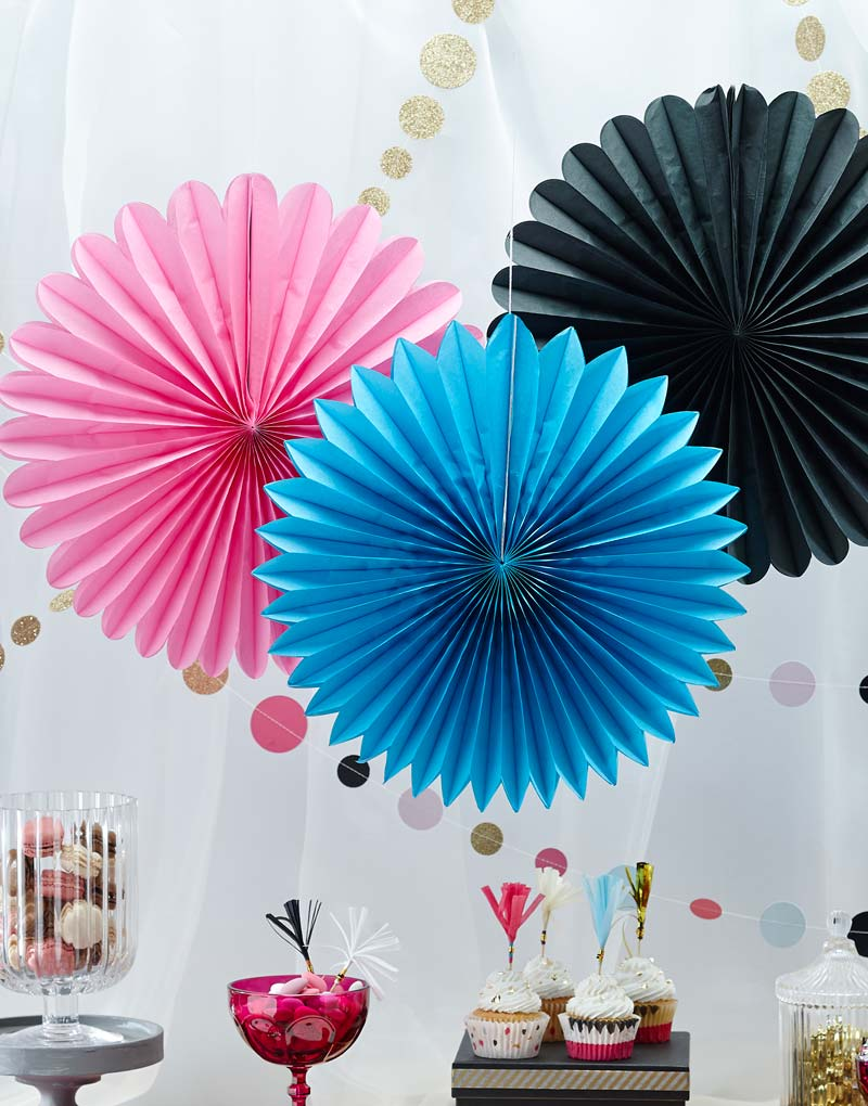 3 stk Pappersfläktar 40 cm - Poppin Party