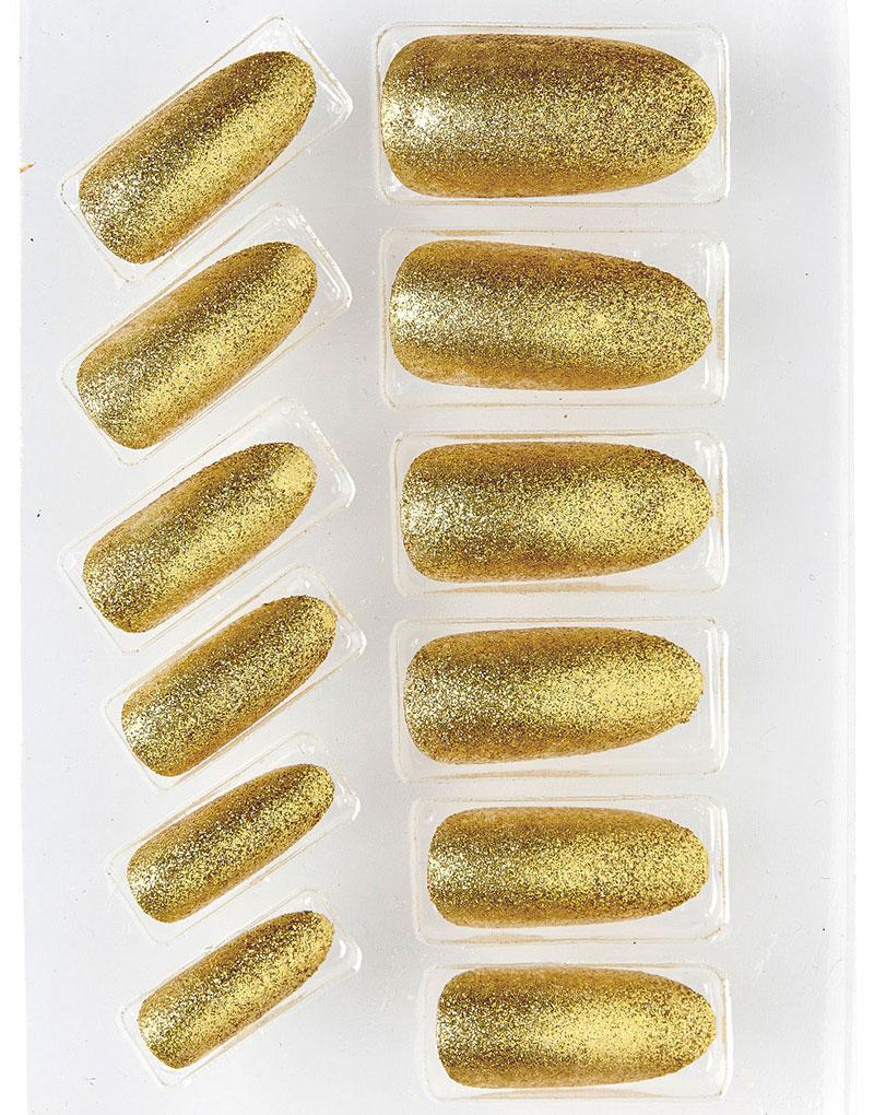 12 stk Lösnaglar med Glitter - Guldfärgade