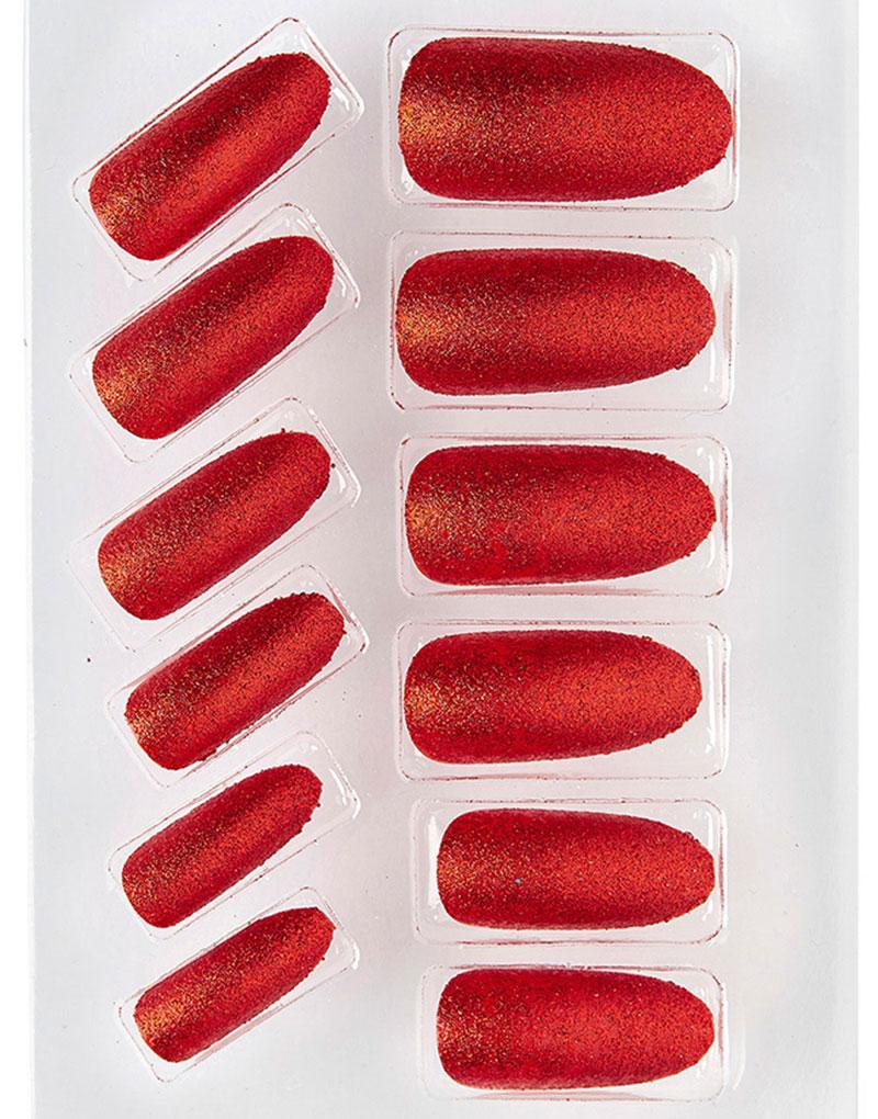 12 stk Lösnaglar med Glitter - Röd