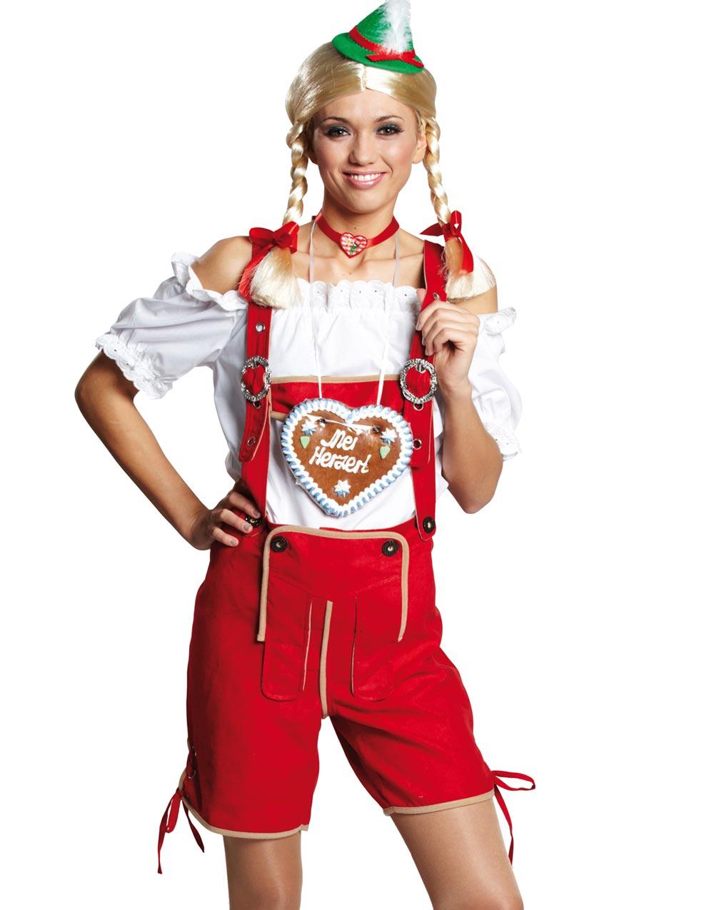 Röda Oktoberfest Lederhosen för Damer