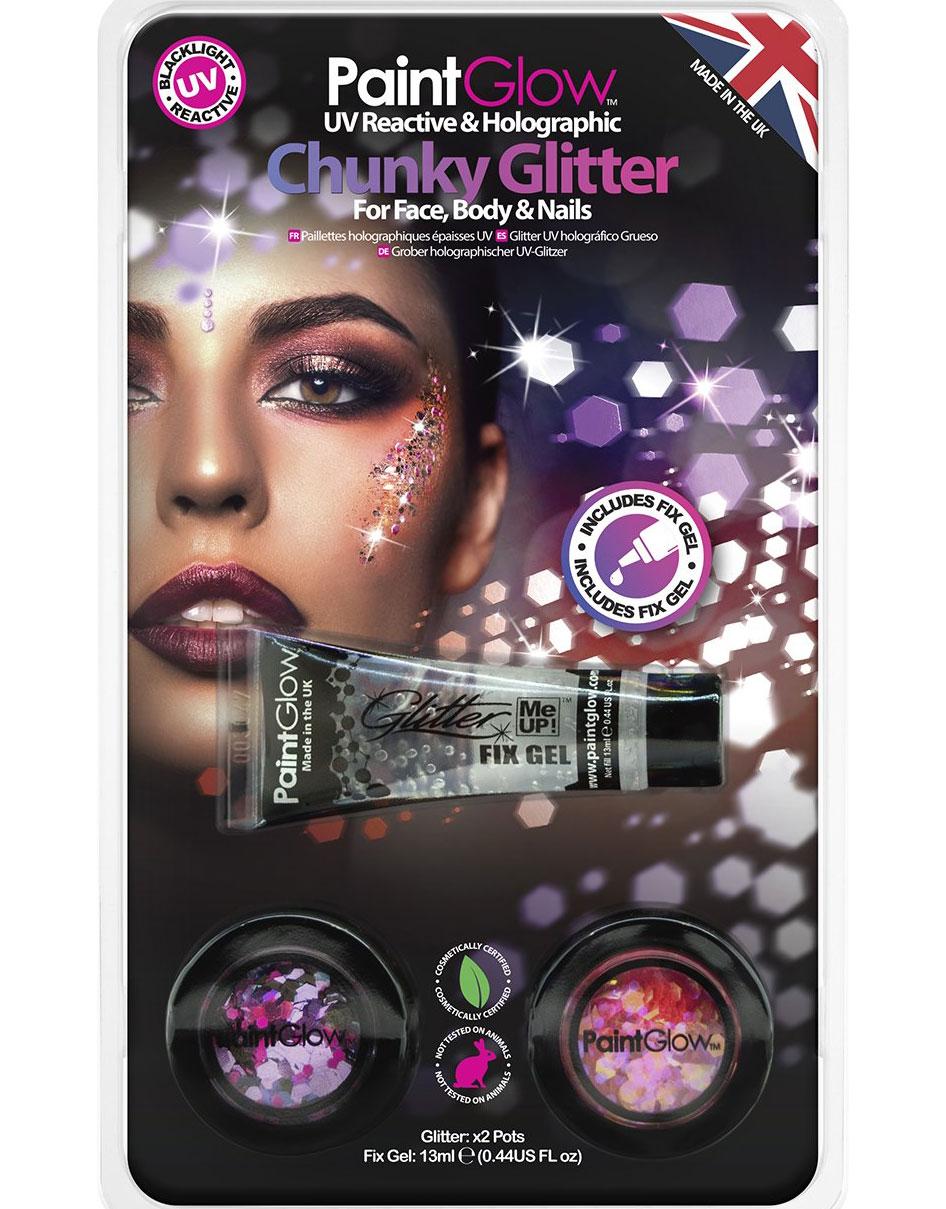 Set med 2 UV Blacklight Chunky Glitter Shaker och Glitterlim - Rosa och Lila a4c69e087f22d