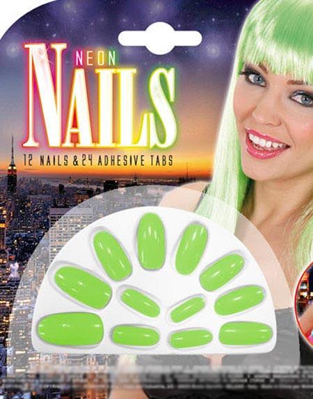 12 st Neongröna Lösnaglar