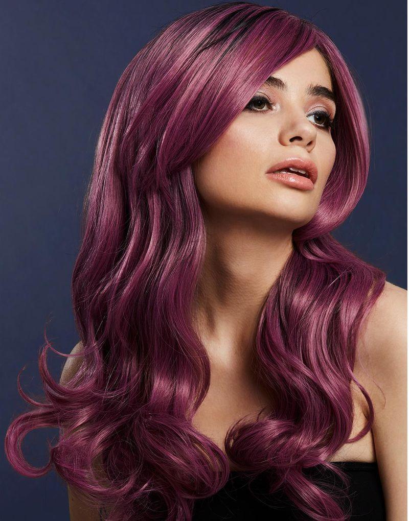 Khloe Deluxe Wig - Kan Styles! - Lila Peruk med Vågor