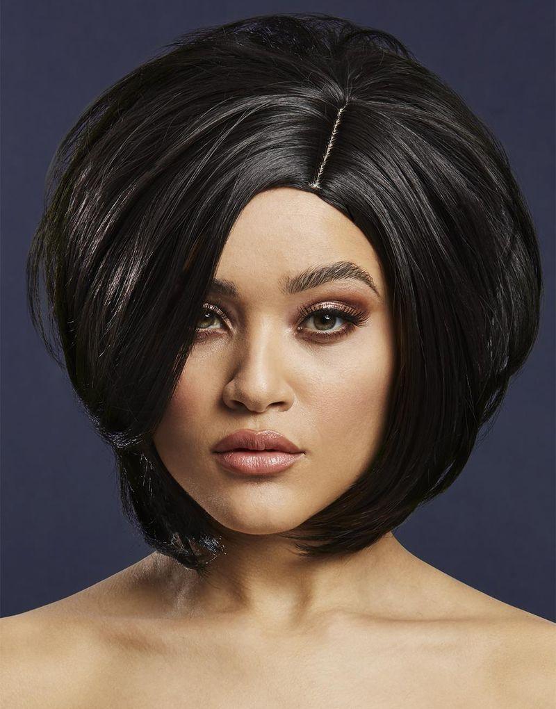 Savanna Deluxe Wig - Kan Styles! - Svart Peruk med Asymmetrisk Bob-Frisyr