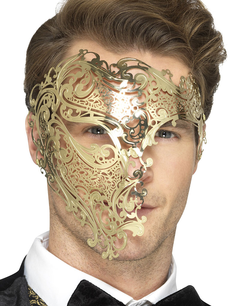 Guldfärgad Filigree Phantom Ögonmask i Metall