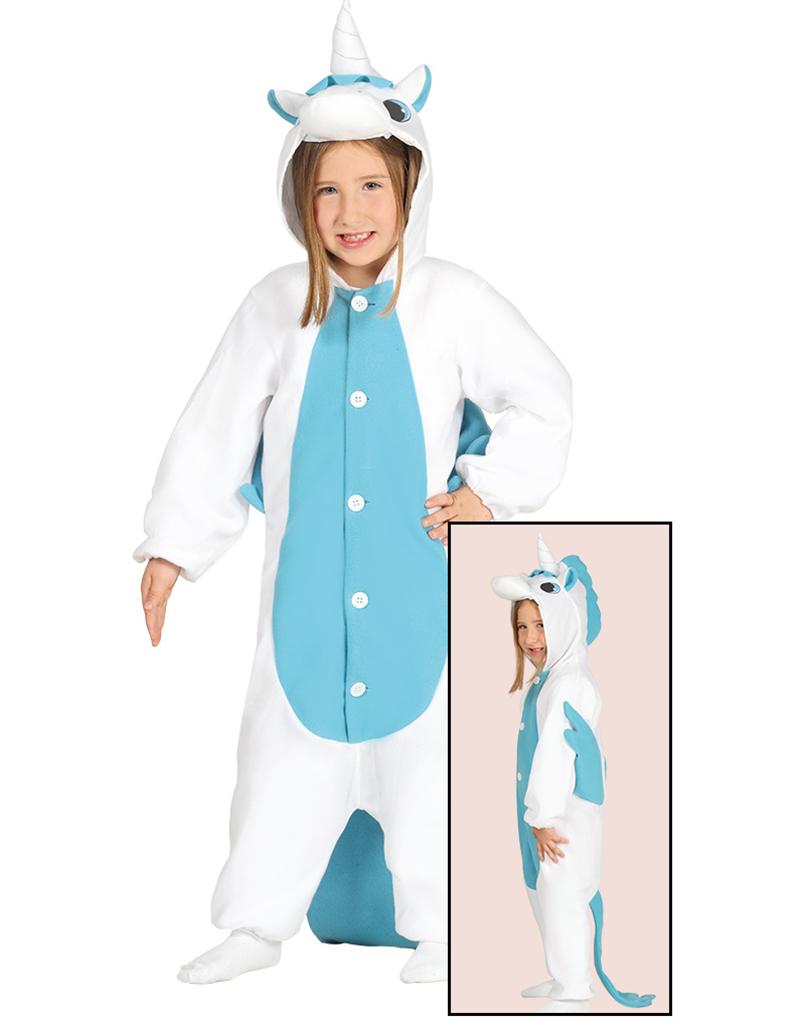 Kigurumi Blå Unicorn Barndräkt