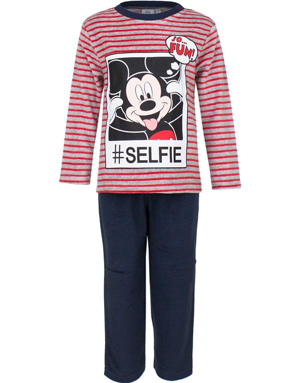 Röd och Grå Musse Pigg Velour Pyjamas till Barn