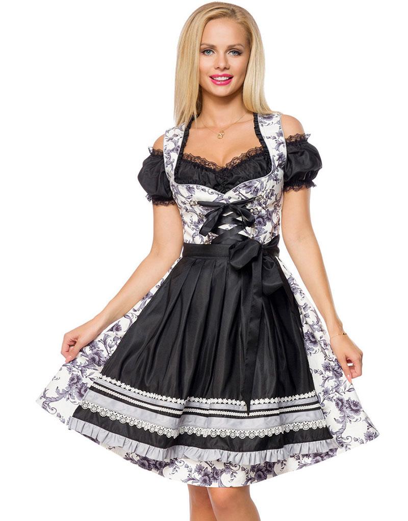 Lyxig Oktoberfest-Dirndl Blomstermönstrad Fin Korsettklänning med Förkläde