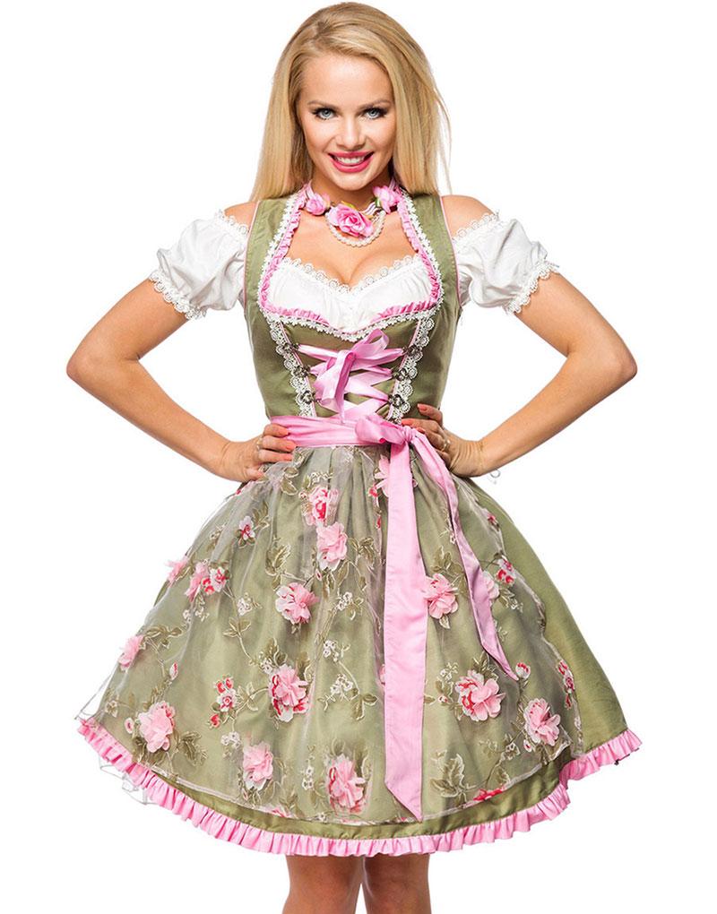Grön Dirndl Oktoberfestklänning i Lyxkvalitet med Utformade Blommor på Förklädet