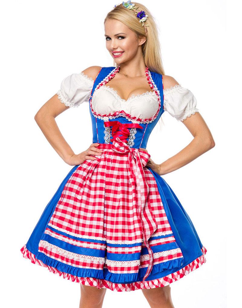 Deluxe Kungsblå Dirndl-Oktoberfestklänning med Röda Partier