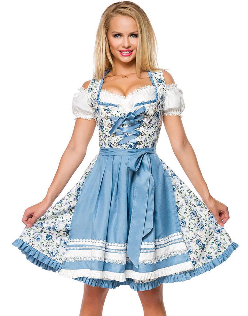 Underbar Lyxig Dirndl-Oktoberfestklänning med Blomstermönster och Förkläde