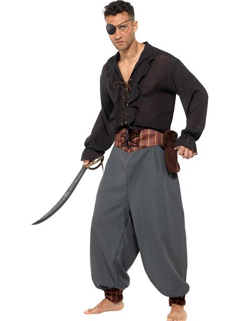 Grå Pirat Blouson Dräktbyxor för Män