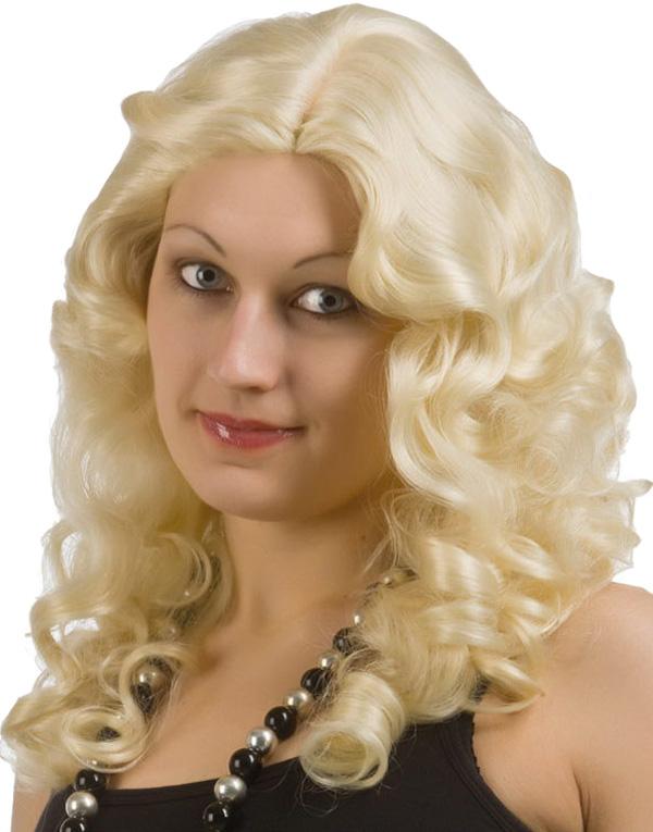 Blond Peruk m/Lockar - De Luxe Serien