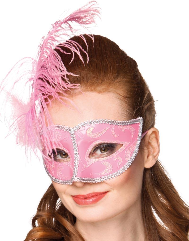 Rosa Venetiansk Colombina-Mask - Delvis Transparent med Röd/Guldfärgad Dekor och Utsmyckning