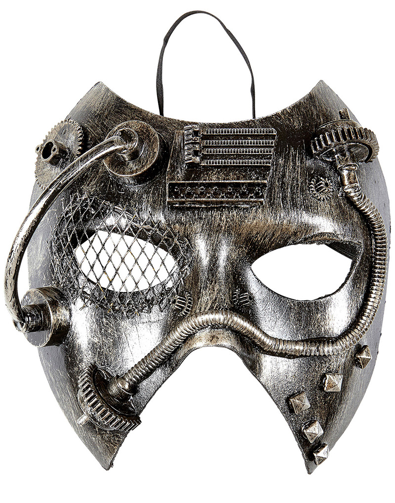 Machine - Silverfärgad och Svart Steampunk Mask