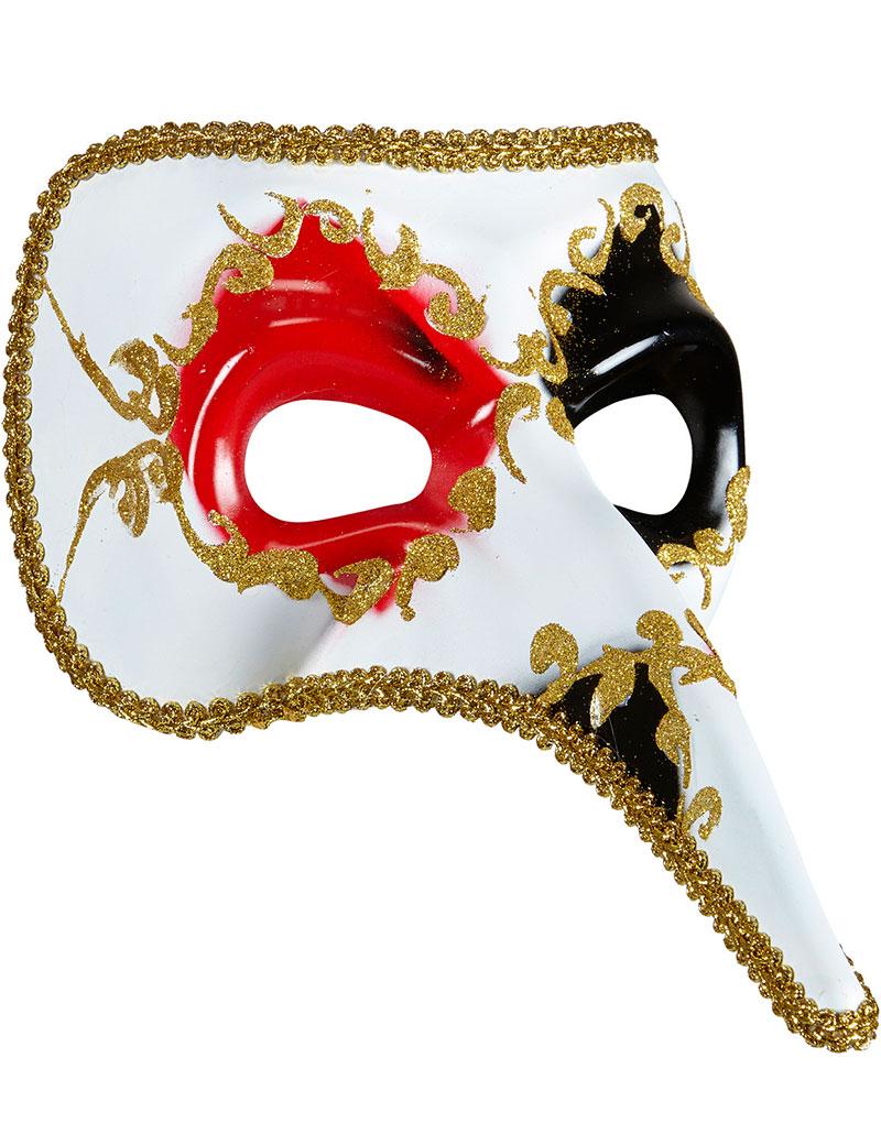 Vit Venetiansk Zanni Mask med Rött Öga och Lång Näsa