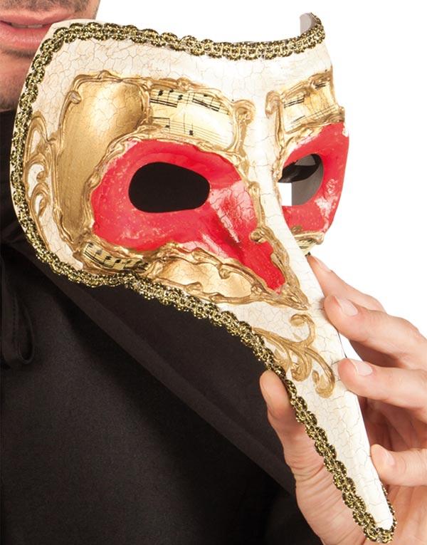 Vit venetiansk Zanni-mask med röda ögon och lång näsa