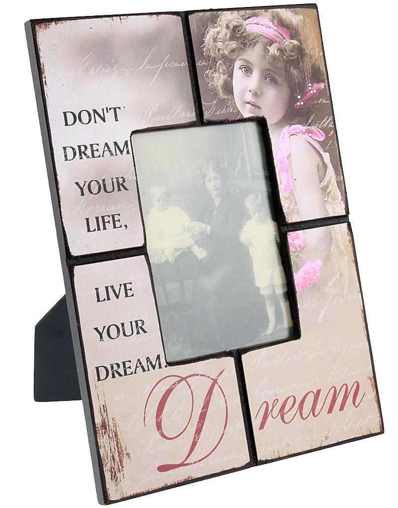 Rosa Vintageinspirerad Fotoram med Text - 33x24 cm