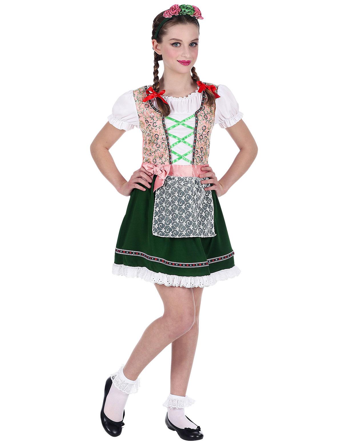 Rosa och Grön Oktoberfest Dräkt för Barn