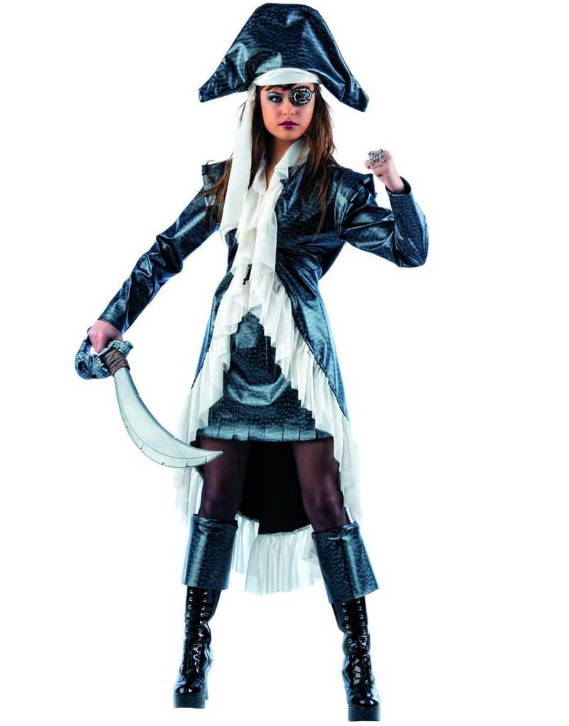 Elegant Grå Piratdräkt till kvinna - Lyxdräkt