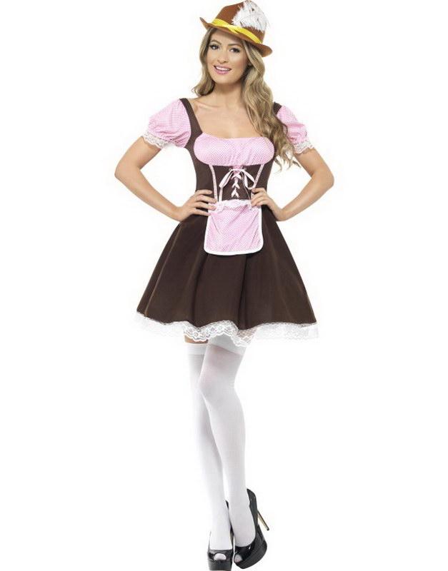 Tjänsteflicka med Kort Klänning - Oktoberfest Kostym
