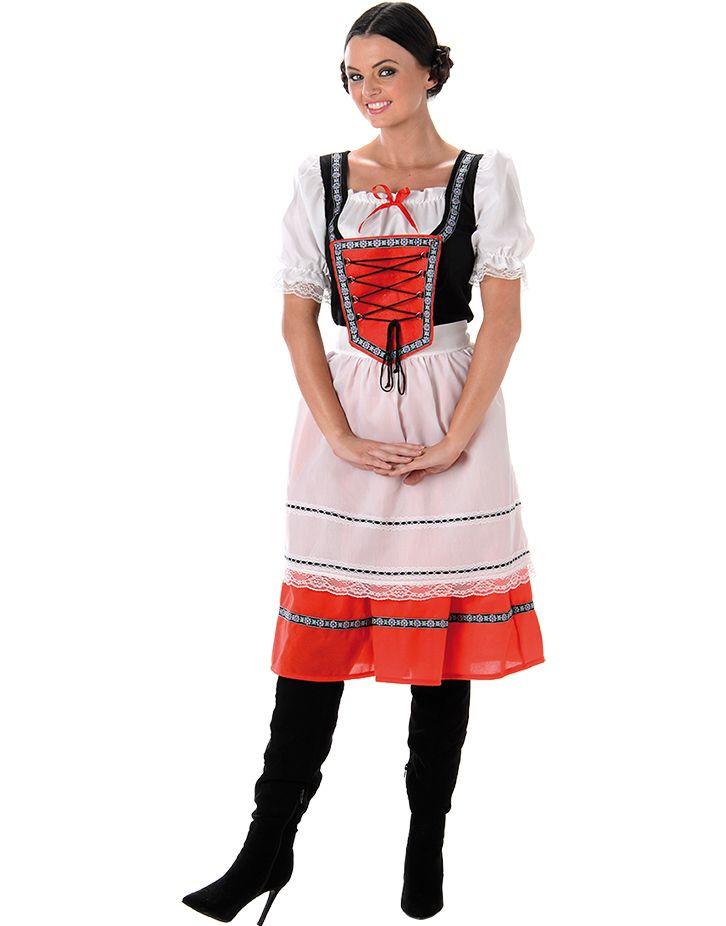 Röd Oktoberfest Dräkt till Dam med Förkläde